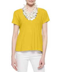 Eileen Fisher | Yellow Short-sleeve Organic Cotton Tee | Lyst