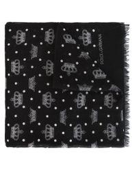 Dolce & Gabbana - Black Crown Print Scarf - Lyst