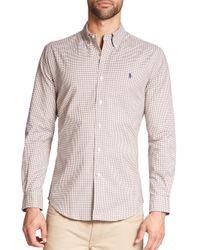 Polo Ralph Lauren | Brown Slim-fit Tattersall Stretch-oxford Sportshirt for Men | Lyst