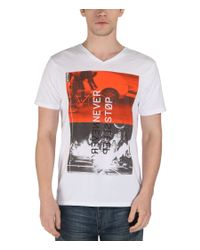 Bench | White Stop Sleep Graphic V Neck Slim Fit T-shirt for Men | Lyst