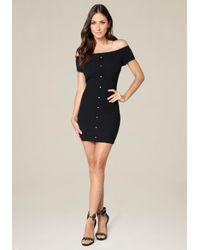 Bebe | Black Kenna Off Shoulder Dress | Lyst