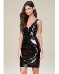 Bebe - Black Danny Sequin Dress - Lyst