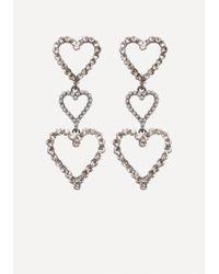Bebe - Metallic Triple Heart Earrings - Lyst
