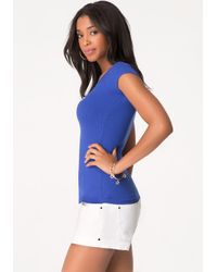 Bebe - Blue Double V-neck Logo Tee - Lyst
