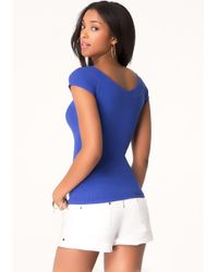 Bebe | Blue Double V-neck Logo Tee | Lyst