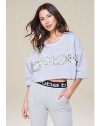 Bebe - Gray Logo Embellished Crop Top - Lyst