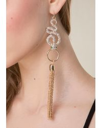Bebe - Metallic Snake & Tassel Earrings - Lyst