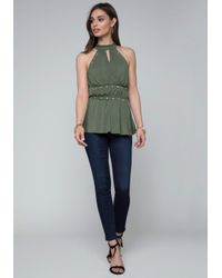 Bebe - Green Studded Jersey Top - Lyst