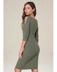 Bebe - Green Logo Boatneck Dress - Lyst