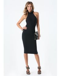 Bebe - Black Mock Neck Midi Dress - Lyst