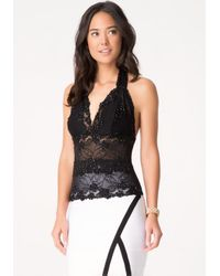 Bebe | Black Katherina Beaded Halter Top | Lyst