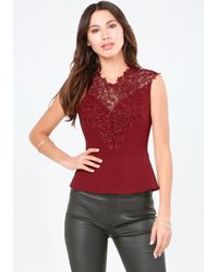 Bebe | Red Lace Peplum Top | Lyst