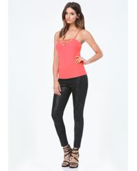 Bebe - Pink Front & Back Strappy Tank - Lyst
