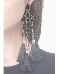 Bebe - Black Faux Onyx Fringe Earrings - Lyst
