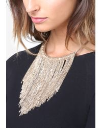 Bebe - Metallic Chain Fringe Short Necklace - Lyst