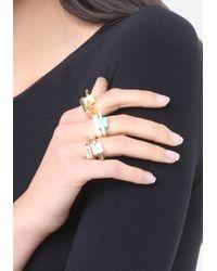 Bebe - Metallic Square Stone Ring Set - Lyst