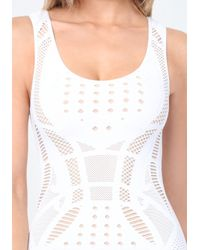 Bebe - White Dame Openwork Bodycon Dress - Lyst