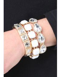 Bebe - Metallic Multi-crystal Bracelet Set - Lyst