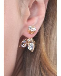 Bebe - Pink Flower Front-back Earrings - Lyst
