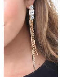 Bebe - Metallic Chain & Spike Long Earrings - Lyst