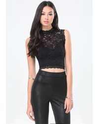 Bebe | Black Lace Sleeveless Crop Top | Lyst