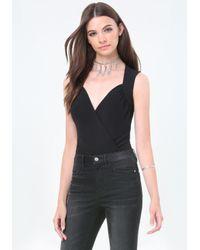 Bebe   Black Paulina Wrap Bodysuit   Lyst
