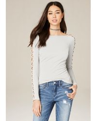 Bebe | White Lace Up Sleeve Scoop Top | Lyst