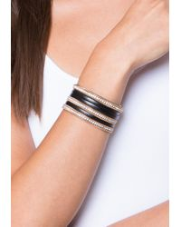 Bebe - Metallic Crystal & Faux Leather Cuff - Lyst