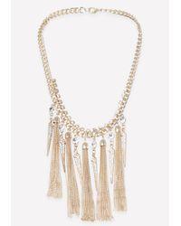Bebe - Metallic Tassel & Spike Necklace - Lyst