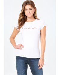 Bebe   White Sequin Logo Tee   Lyst