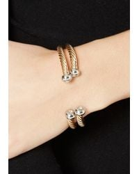 Bebe - Metallic Textured Metal Bracelet - Lyst
