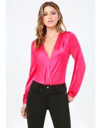 Bebe | Pink Silk Charmeuse Bodysuit | Lyst