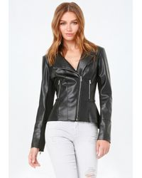 Bebe | Black Faux Leather Peplum Jacket | Lyst