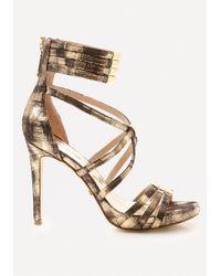 Bebe | Metallic Naddia Strappy Sandals | Lyst