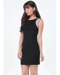 Bebe - Black Embellished Shoulder Dress - Lyst