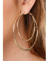 Bebe - Metallic Sculpted Hoop Earrings - Lyst