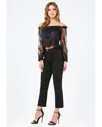 Bebe - Black Lace Off Shoulder Crop Top - Lyst