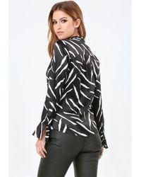 Bebe - Black Print Silk Tie Neck Blouse - Lyst