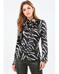 Bebe | Black Print Silk Tie Neck Blouse | Lyst