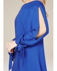 Bebe - Blue Dionne Off Shoulder Dress - Lyst