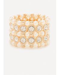 Bebe | Metallic Faux Pearl Crystal Bracelet | Lyst