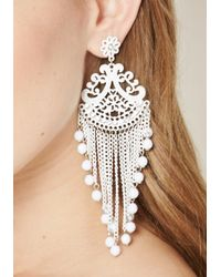 Bebe - White Scroll Statement Earrings - Lyst