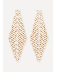 Bebe | Metallic Crystal Chevron Earrings | Lyst