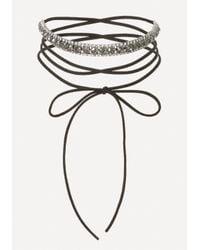 Bebe | Black Crystal Wrap Tie Choker | Lyst