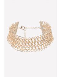 Bebe - Metallic Chainmail Choker - Lyst