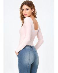Bebe - Pink Floral Design Bodysuit - Lyst