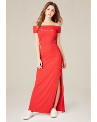 Bebe | Red Logo Shoulder Maxi Dress | Lyst