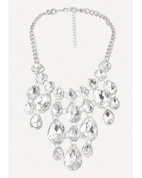 Bebe | Metallic Crystal Drop Bib Necklace | Lyst