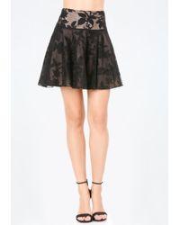 Bebe | Black Embroidered Floral Skirt | Lyst