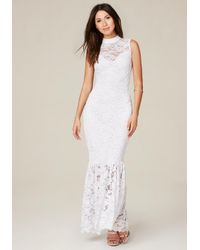 Bebe - White Lace Mock Neck Maxi Dress - Lyst